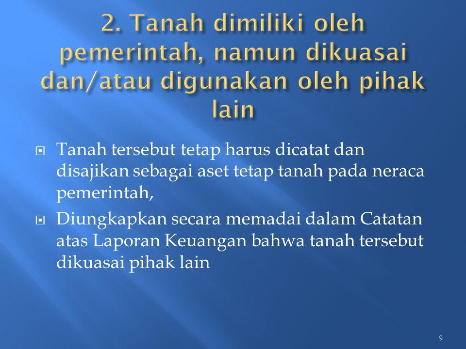 2. Tanah dimiliki oleh pemerintah, namun dikuasai dan/atau digunakan oleh pihak lain