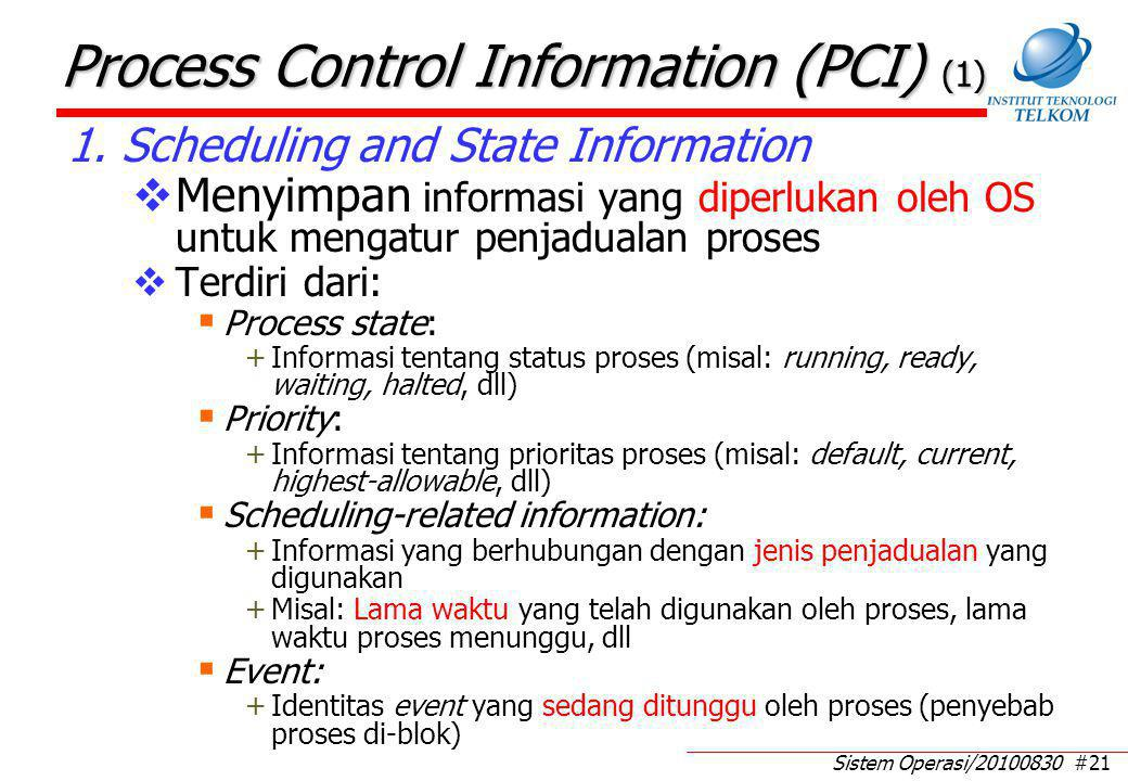 Process Control Information (PCI) (2)