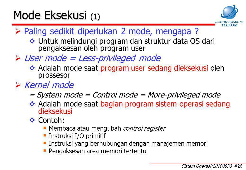 Mode Eksekusi (2) Contoh fungsi-fungsi kernel-mode: Manajemen proses: