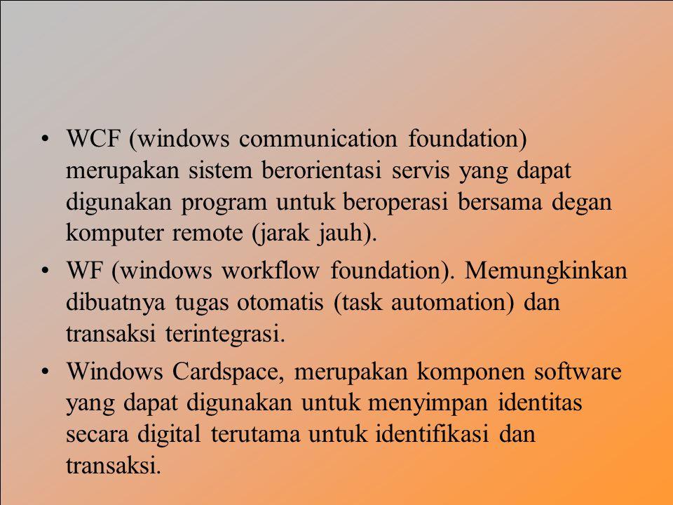 WCF (windows communication foundation) merupakan sistem berorientasi servis yang dapat digunakan program untuk beroperasi bersama degan komputer remote (jarak jauh).