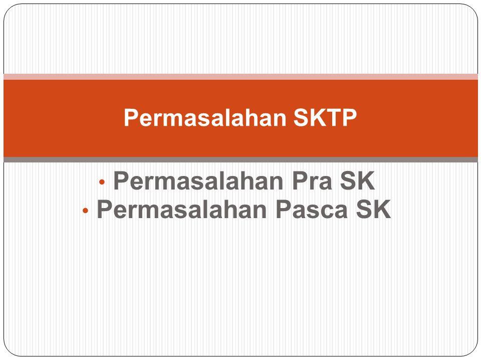 Permasalahan Pra SK Permasalahan Pasca SK
