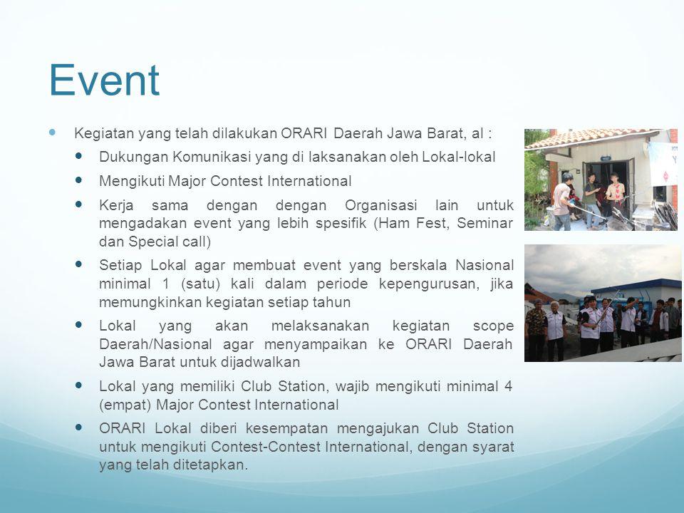 Event Kegiatan yang telah dilakukan ORARI Daerah Jawa Barat, al :