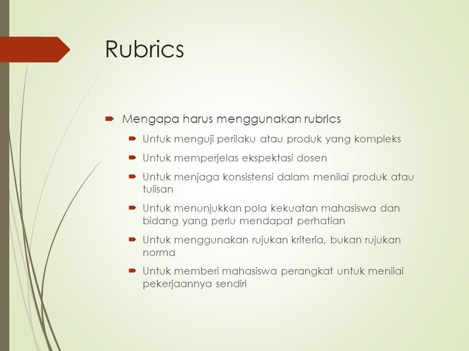 Rubrics Mengapa harus menggunakan rubrics