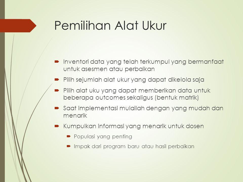 Pemilihan Alat Ukur Inventori data yang telah terkumpul yang bermanfaat untuk asesmen atau perbaikan.