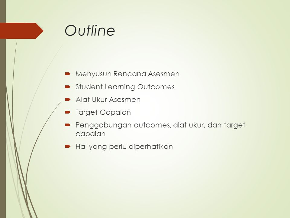 Outline Menyusun Rencana Asesmen Student Learning Outcomes