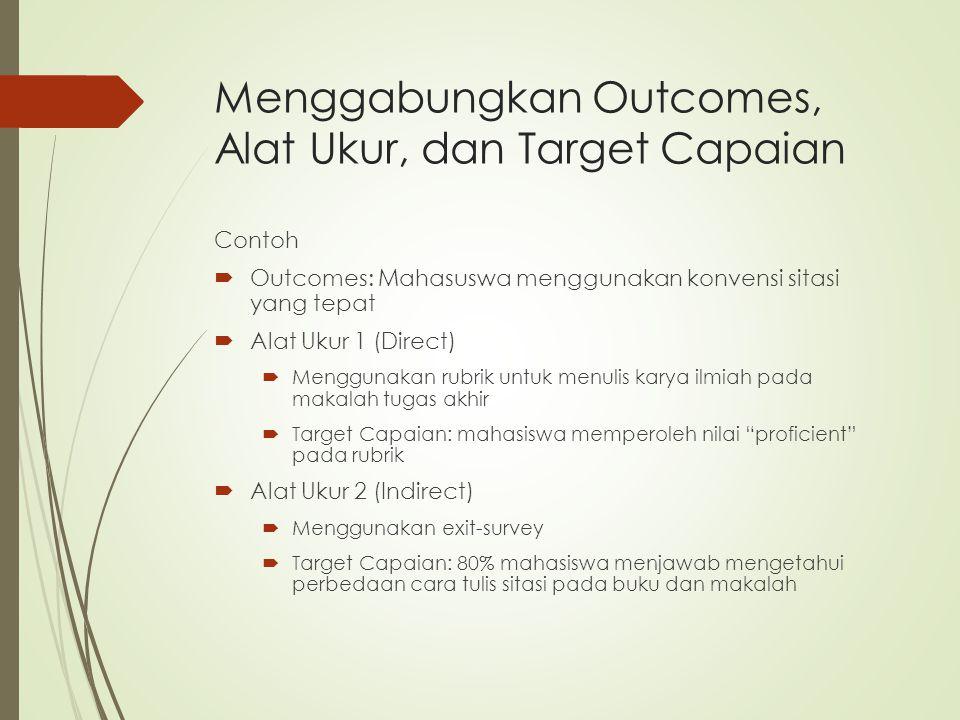Menggabungkan Outcomes, Alat Ukur, dan Target Capaian