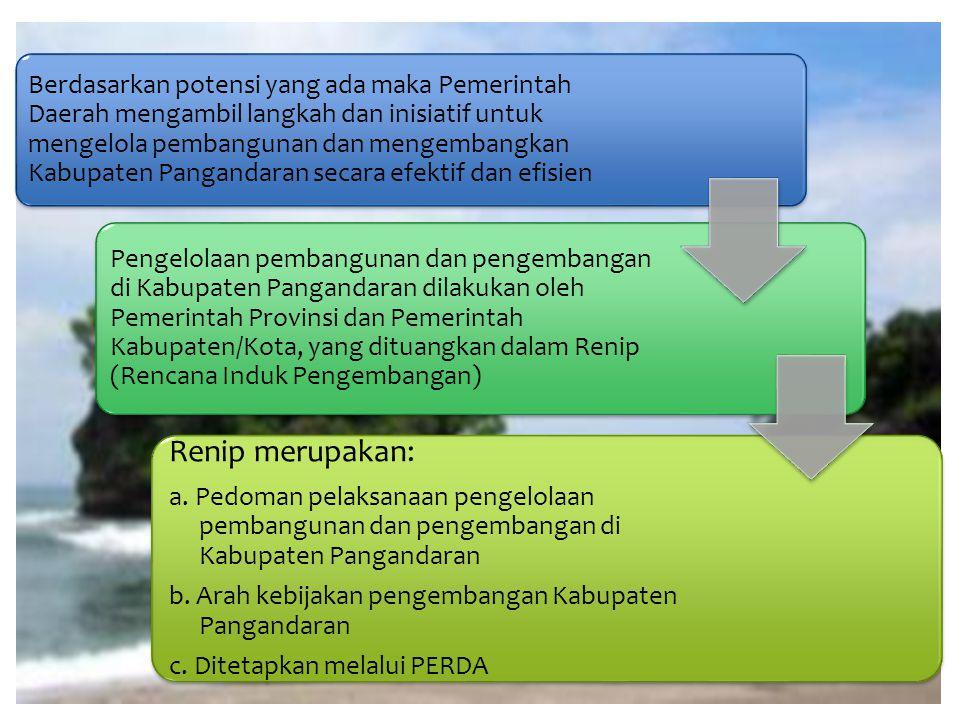 Berdasarkan potensi yang ada maka Pemerintah Daerah mengambil langkah dan inisiatif untuk mengelola pembangunan dan mengembangkan Kabupaten Pangandaran secara efektif dan efisien