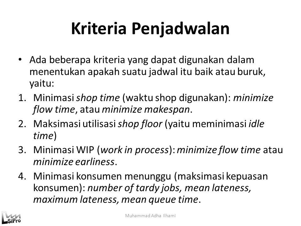 Kriteria Penjadwalan Ada beberapa kriteria yang dapat digunakan dalam menentukan apakah suatu jadwal itu baik atau buruk, yaitu: