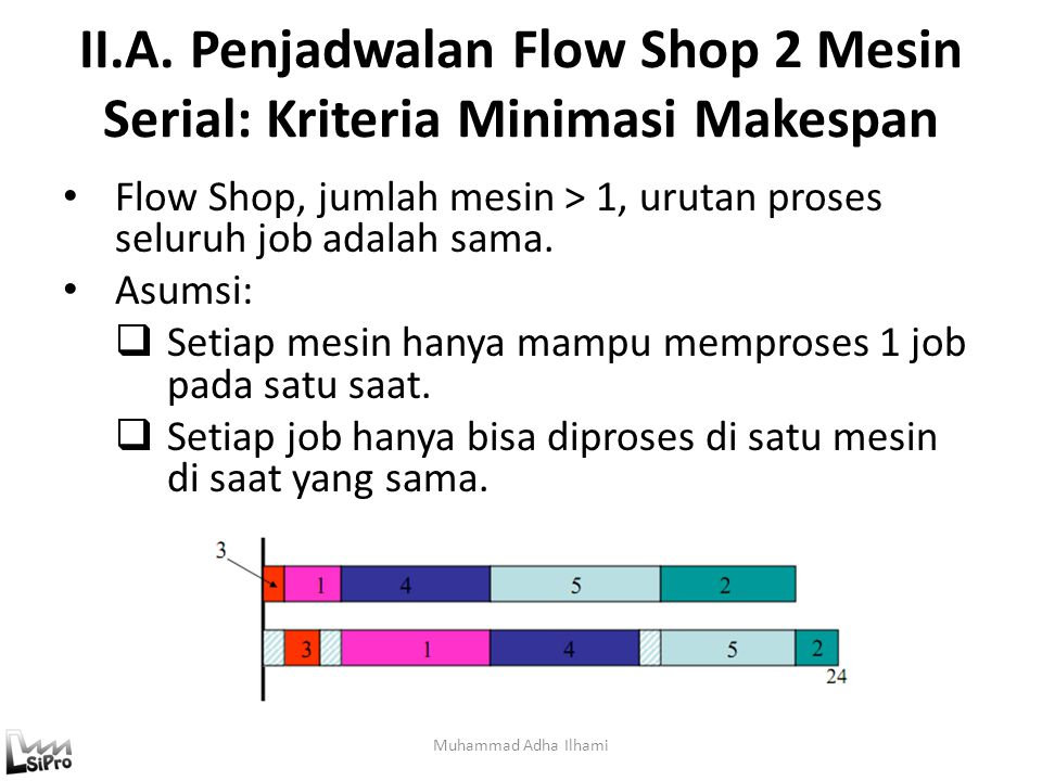 II.A. Penjadwalan Flow Shop 2 Mesin Serial: Kriteria Minimasi Makespan