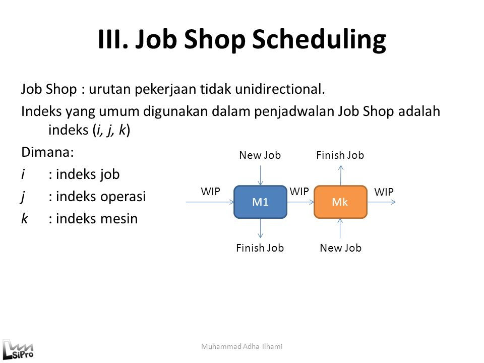 III. Job Shop Scheduling