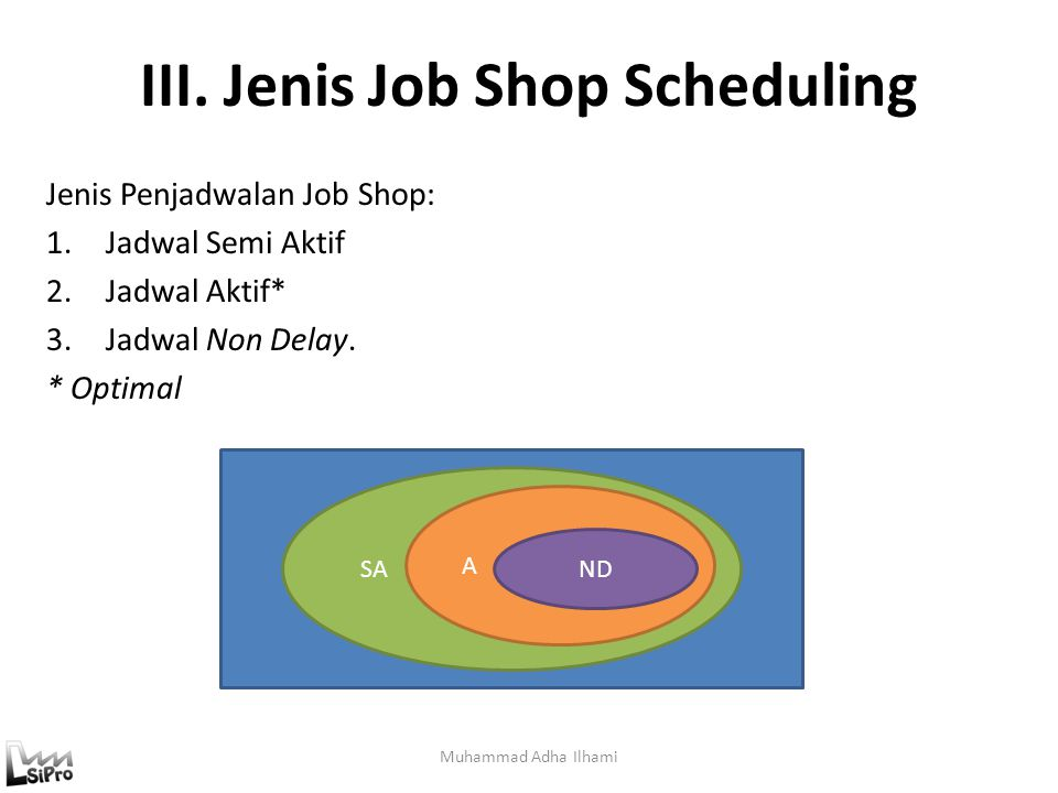 III. Jenis Job Shop Scheduling