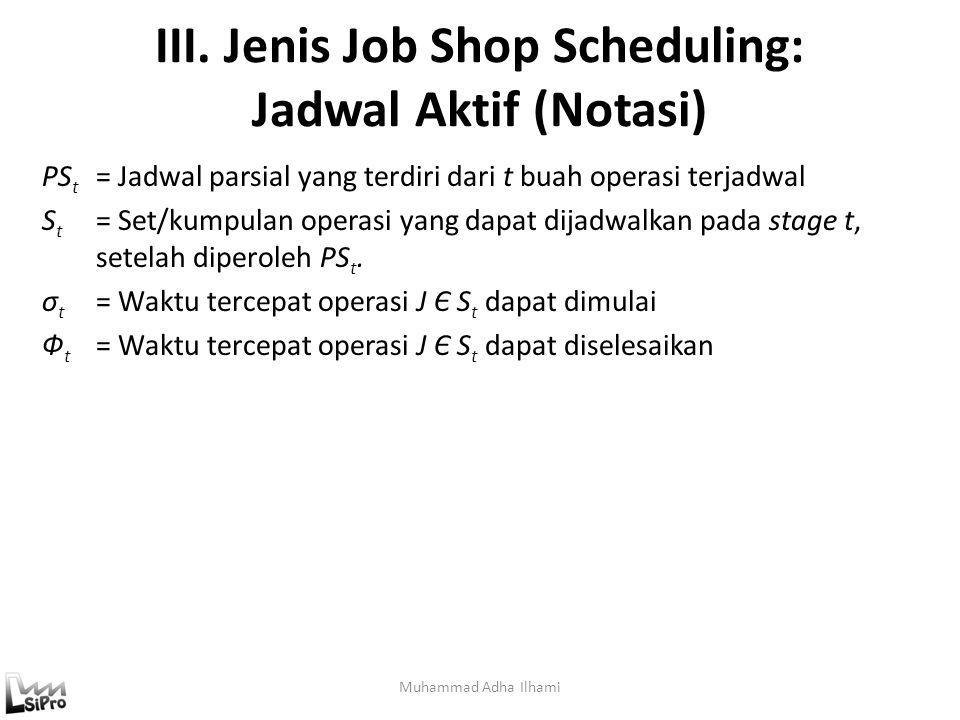 III. Jenis Job Shop Scheduling: Jadwal Aktif (Notasi)