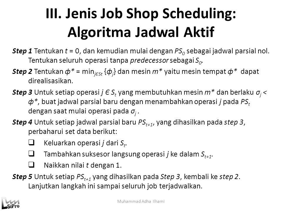 III. Jenis Job Shop Scheduling: Algoritma Jadwal Aktif