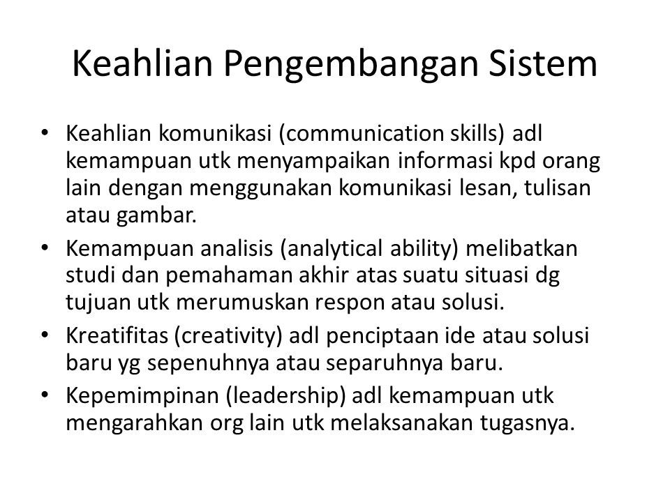 Keahlian Pengembangan Sistem
