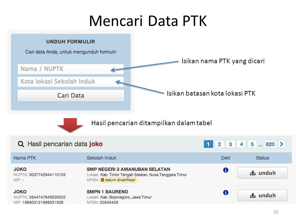 Mencari Data PTK Isikan nama PTK yang dicari