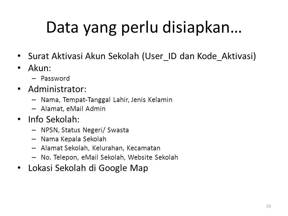 Data yang perlu disiapkan…