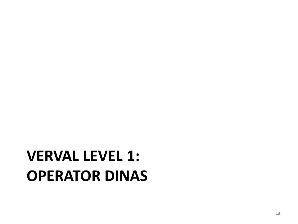 VerVal Level 1: Operator Dinas