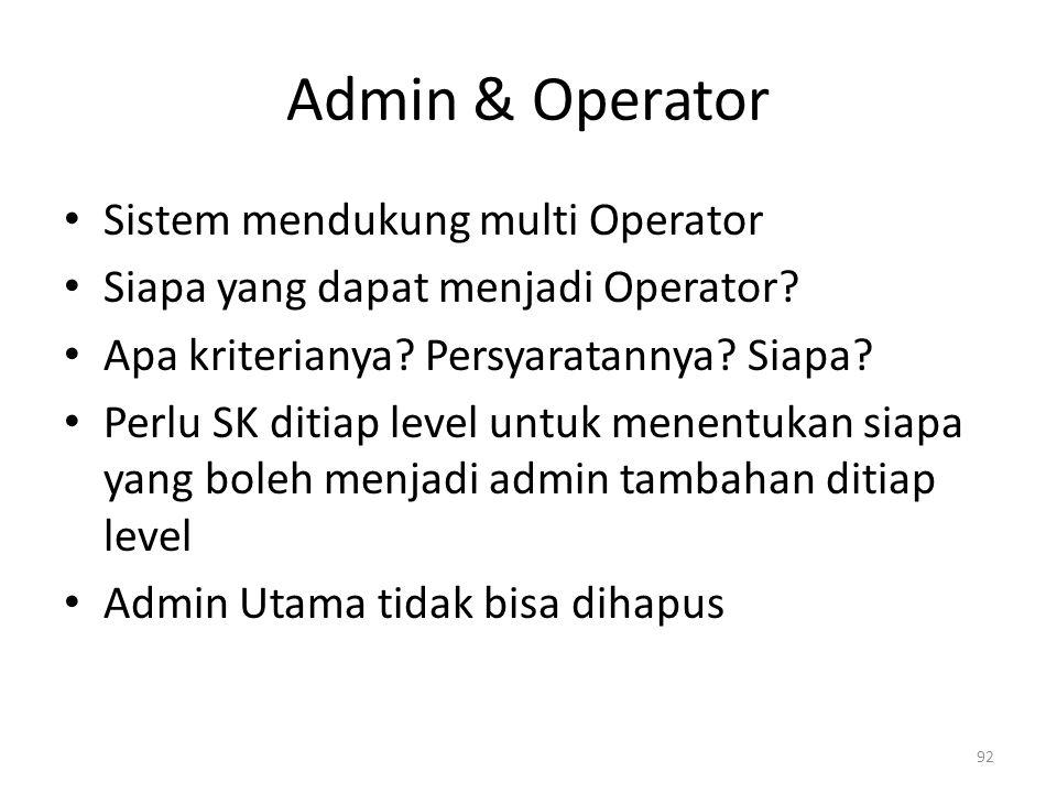 Admin & Operator Sistem mendukung multi Operator