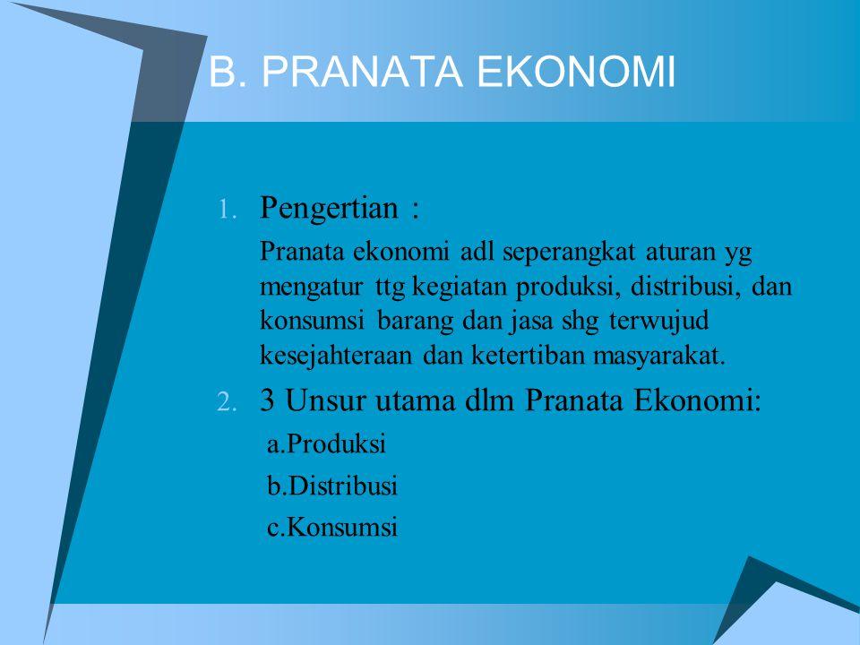 B. PRANATA EKONOMI Pengertian : 3 Unsur utama dlm Pranata Ekonomi: