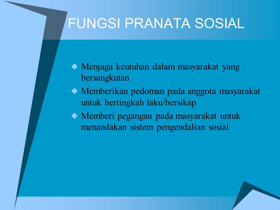 FUNGSI PRANATA SOSIAL Menjaga keutuhan dalam masyarakat yang bersangkutan. Memberikan pedoman pada anggota masyarakat untuk bertingkah laku/bersikap.