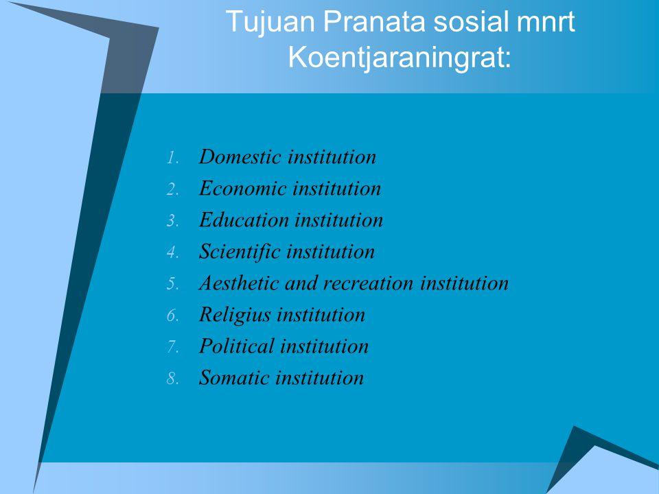 Tujuan Pranata sosial mnrt Koentjaraningrat: