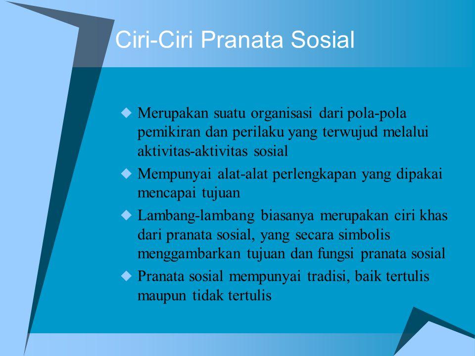 Ciri-Ciri Pranata Sosial
