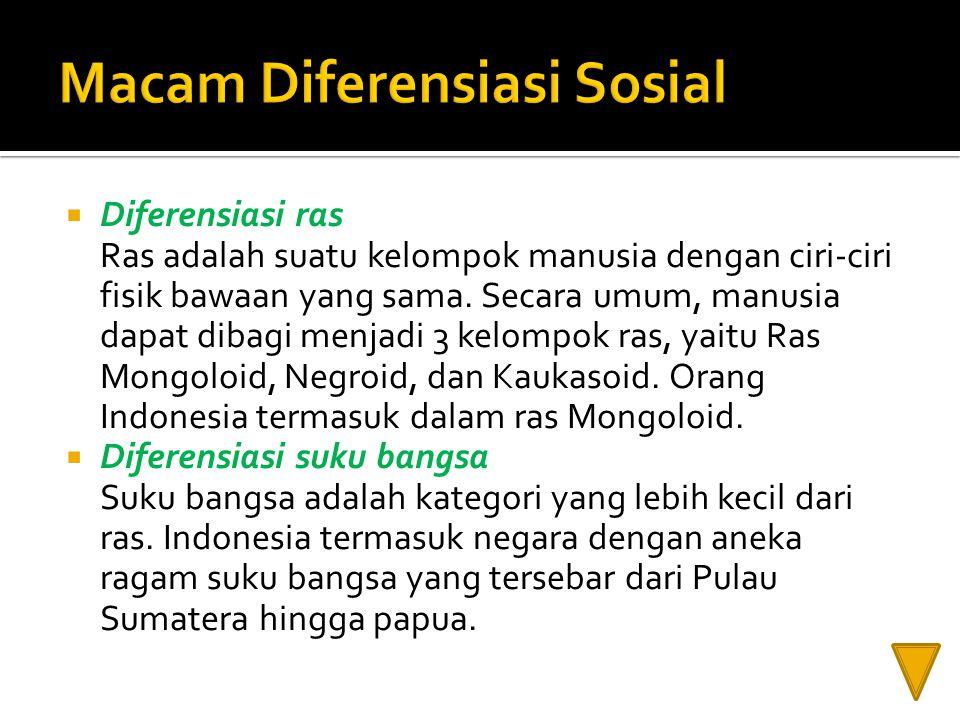 Macam Diferensiasi Sosial