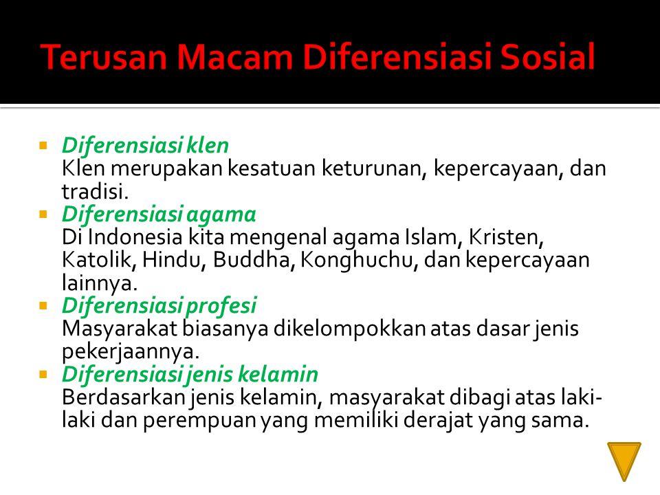 Terusan Macam Diferensiasi Sosial
