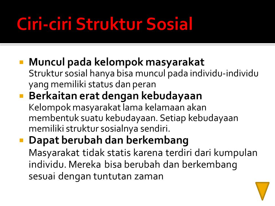 Ciri-ciri Struktur Sosial