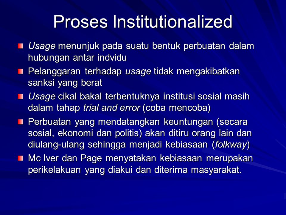 Proses Institutionalized