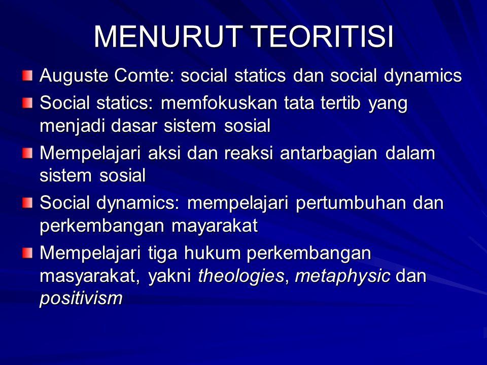 MENURUT TEORITISI Auguste Comte: social statics dan social dynamics