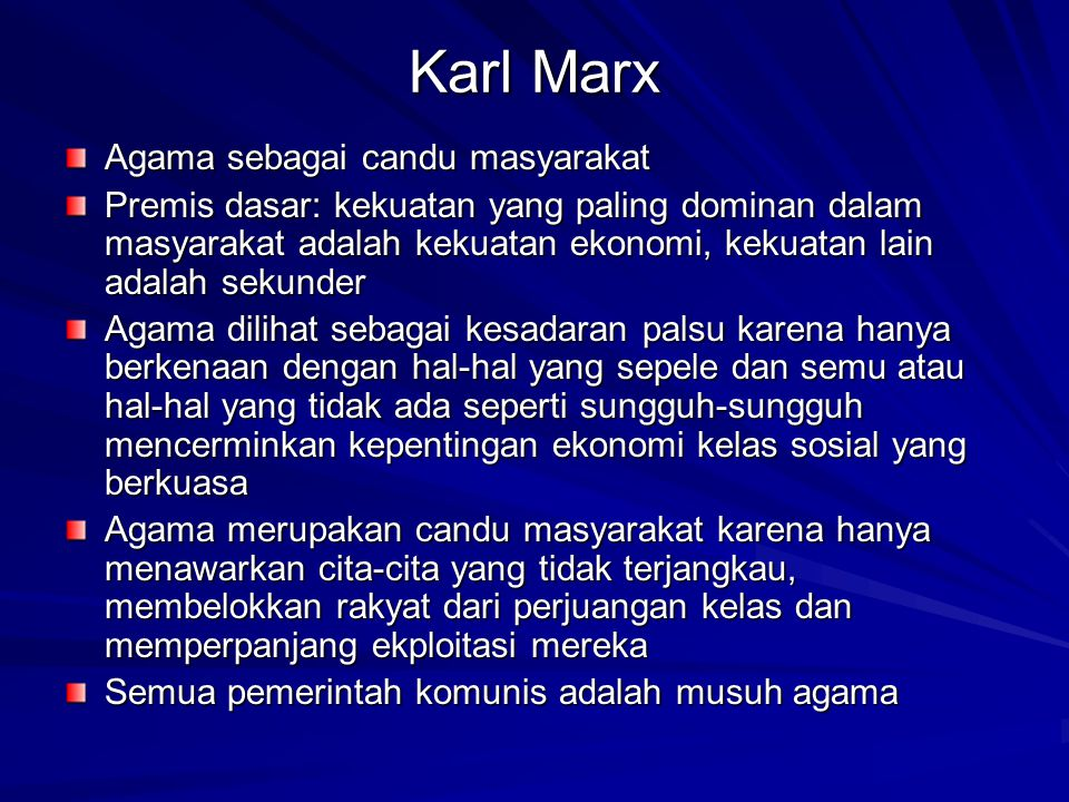 Karl Marx Agama sebagai candu masyarakat