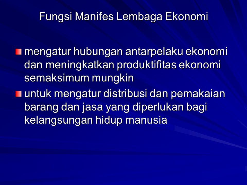 Fungsi Manifes Lembaga Ekonomi