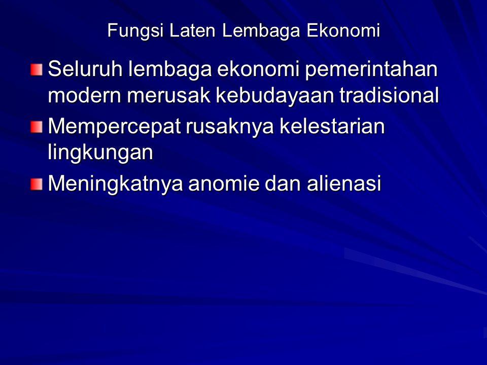 Fungsi Laten Lembaga Ekonomi
