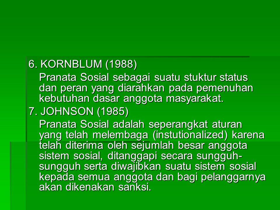 6. KORNBLUM (1988) Pranata Sosial sebagai suatu stuktur status dan peran yang diarahkan pada pemenuhan kebutuhan dasar anggota masyarakat.