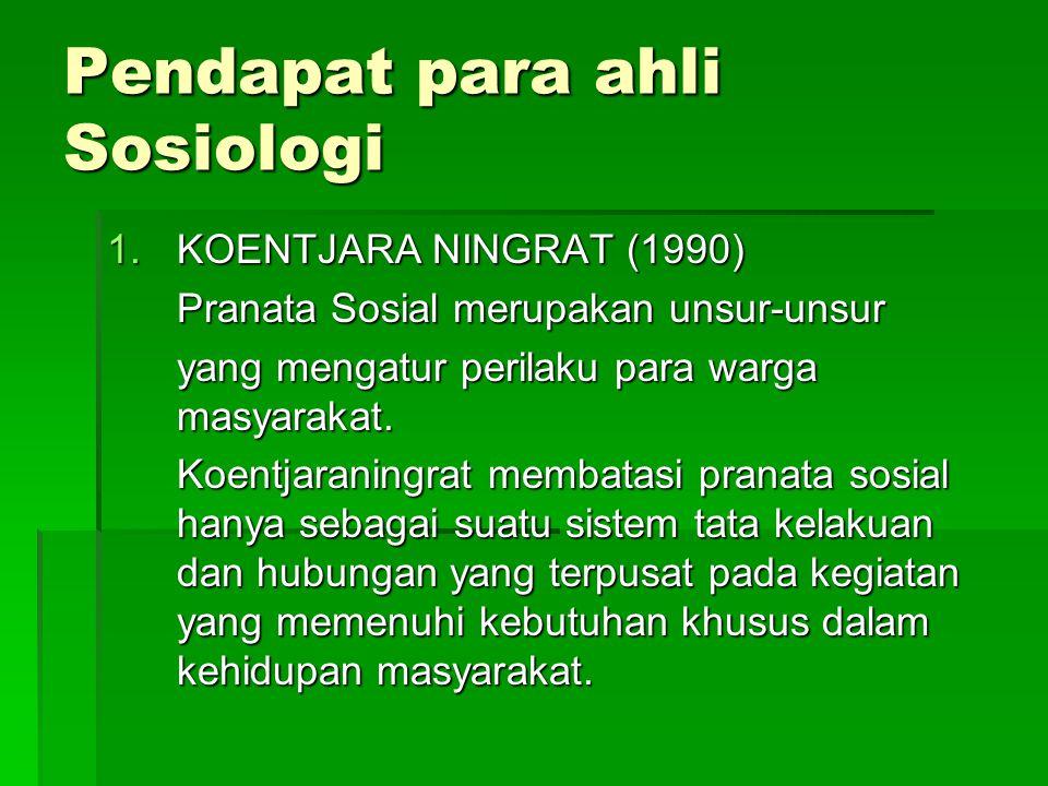 Pendapat para ahli Sosiologi