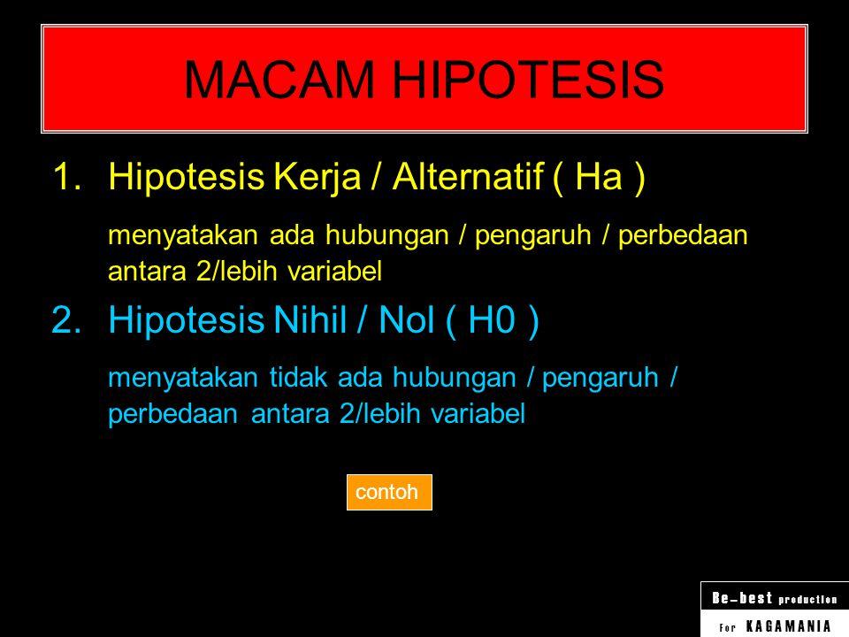 MACAM HIPOTESIS Hipotesis Kerja / Alternatif ( Ha )