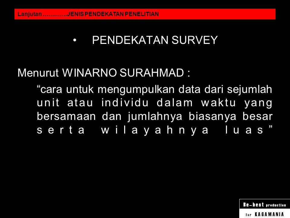 Menurut WINARNO SURAHMAD :