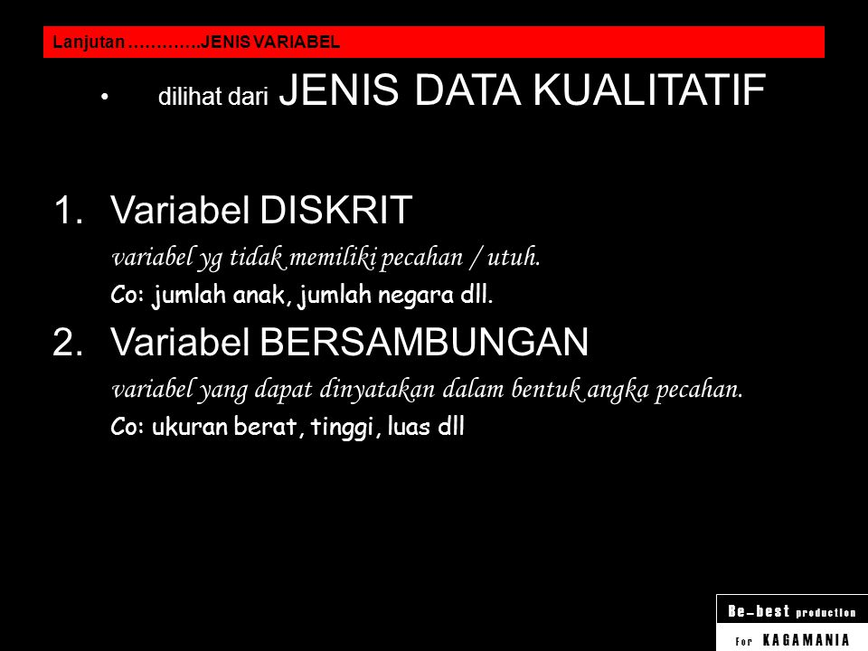 dilihat dari JENIS DATA KUALITATIF