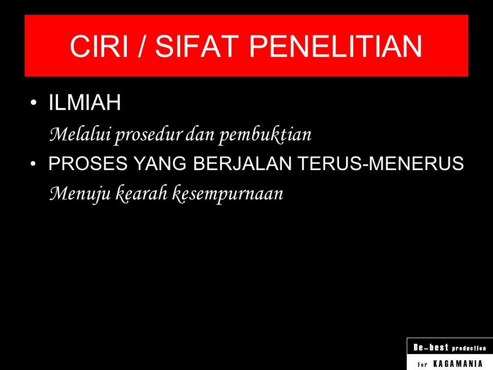 CIRI / SIFAT PENELITIAN