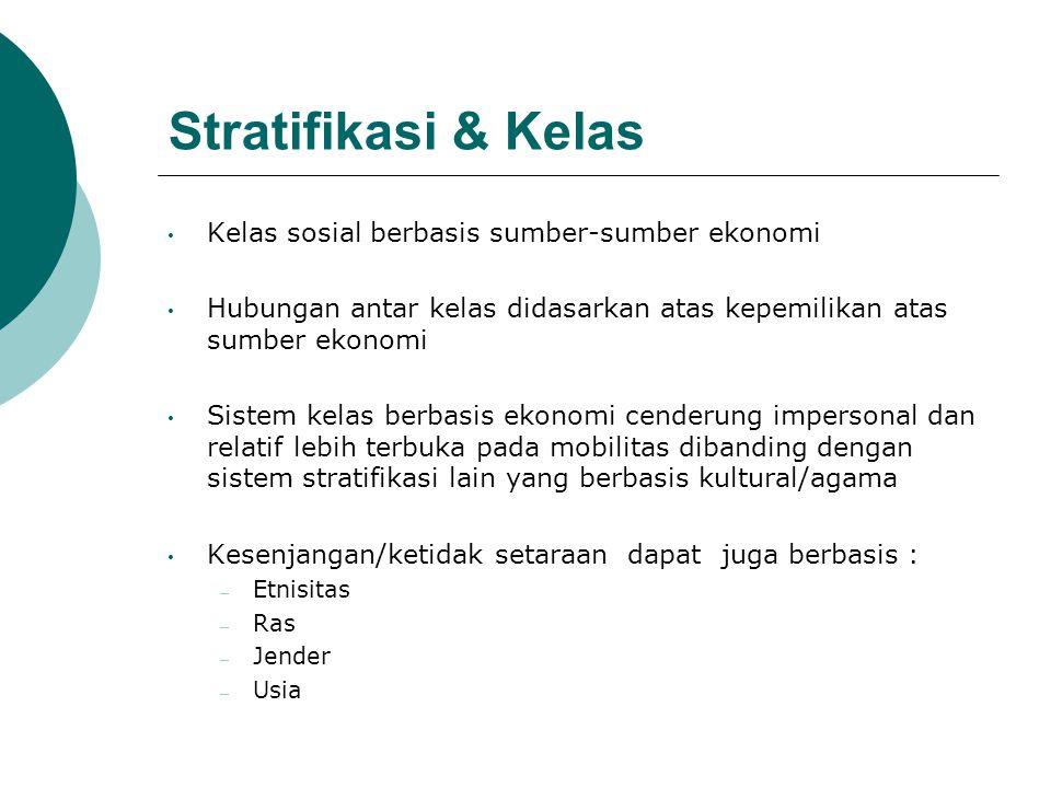 Stratifikasi & Kelas Kelas sosial berbasis sumber-sumber ekonomi