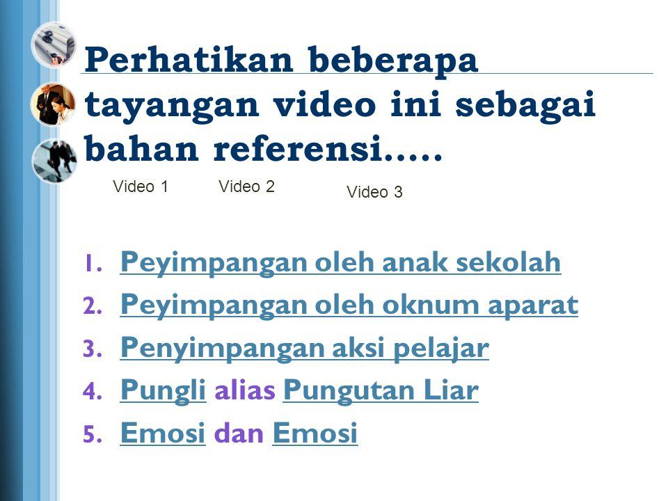 Perhatikan beberapa tayangan video ini sebagai bahan referensi…..