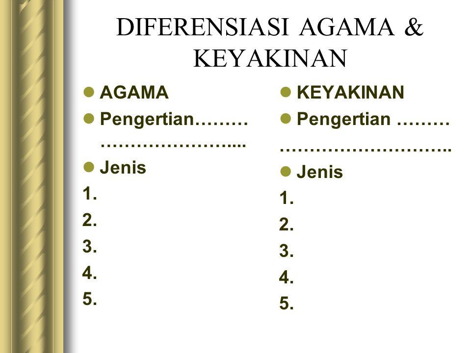 DIFERENSIASI AGAMA & KEYAKINAN