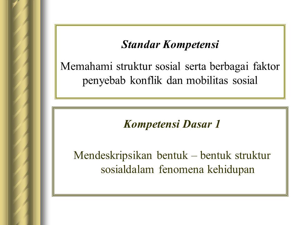Standar Kompetensi Memahami struktur sosial serta berbagai faktor penyebab konflik dan mobilitas sosial