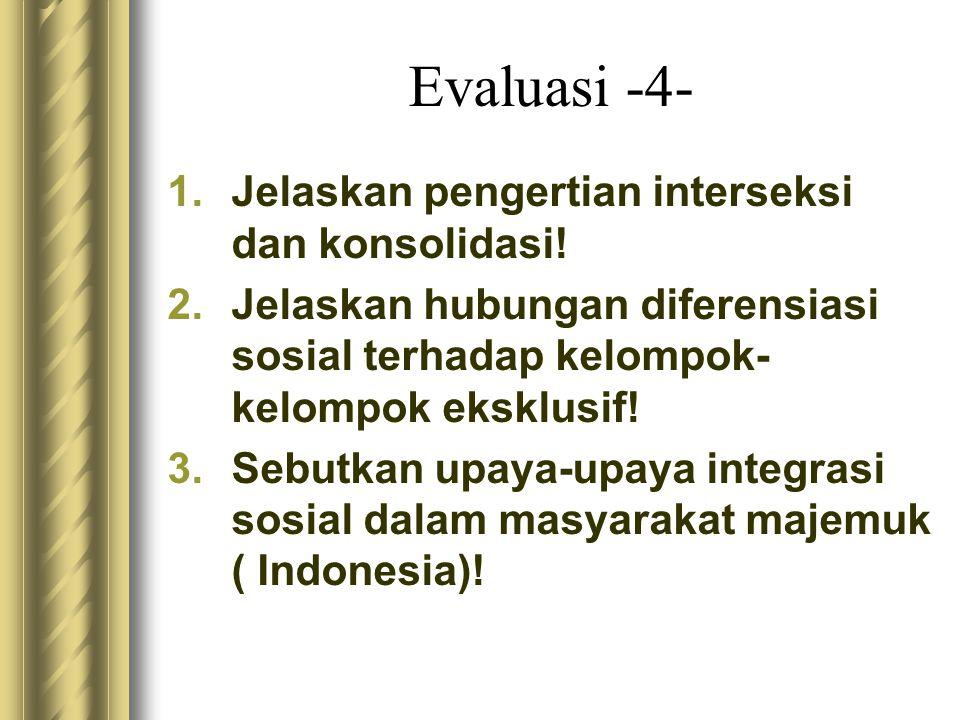Evaluasi -4- Jelaskan pengertian interseksi dan konsolidasi!
