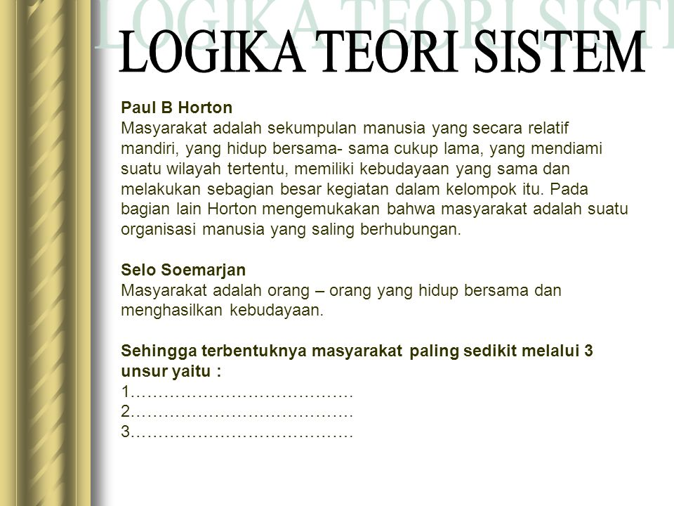 LOGIKA TEORI SISTEM Paul B Horton