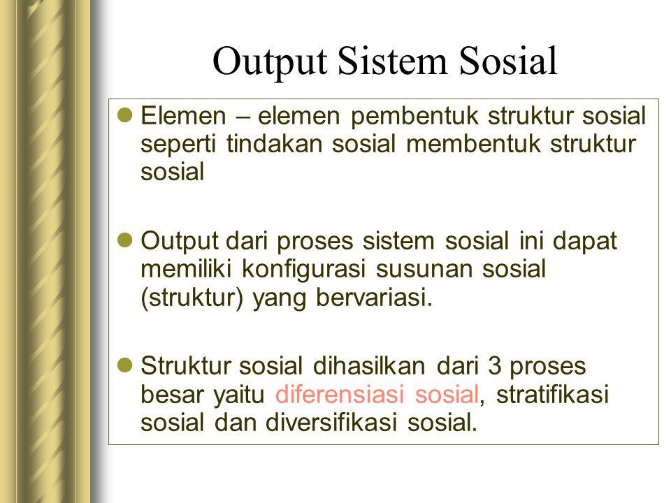 Output Sistem Sosial Elemen – elemen pembentuk struktur sosial seperti tindakan sosial membentuk struktur sosial.