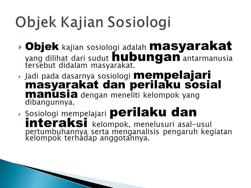Objek Kajian Sosiologi