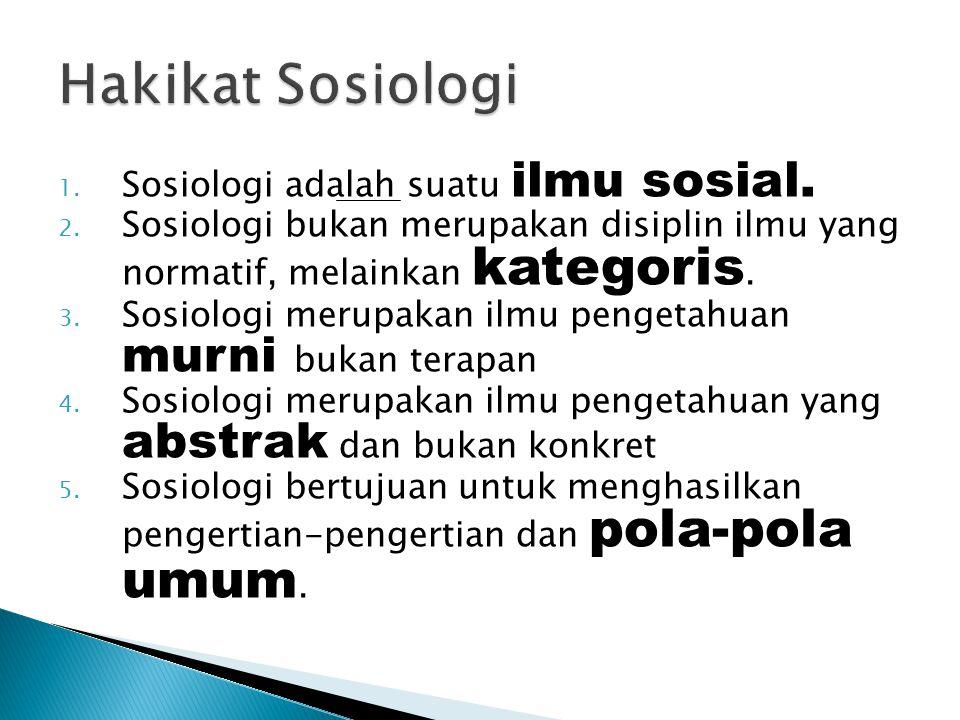 Hakikat Sosiologi Sosiologi adalah suatu ilmu sosial.
