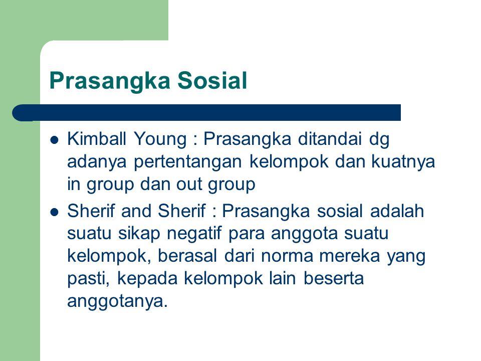 Prasangka Sosial Kimball Young : Prasangka ditandai dg adanya pertentangan kelompok dan kuatnya in group dan out group.